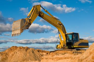 track-type loader excavator at sand quarry