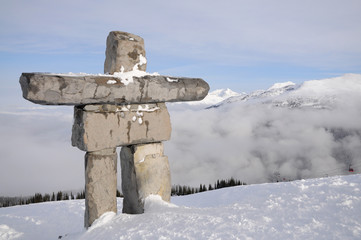 Native inuksuk sculpture at Whistler municipal resort, British C
