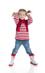 girl wearing sweater and gumboots