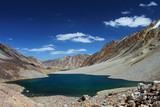 Dark blue lake in Pamir, Tajikistan, Central Asia poster