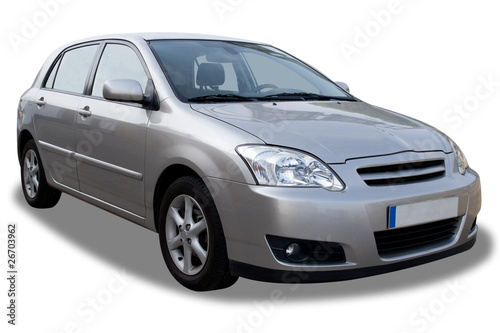 Compact 4-door car isolated on white