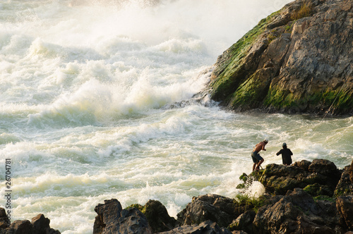 Fisherman at Khon Phapheng Waterfall, Southern of Laos