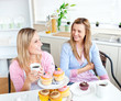 Female friends with cakes and coffee speaking together