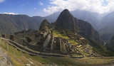 Machu Picchu surrounding wall and stairway. Uneven sunlight poster