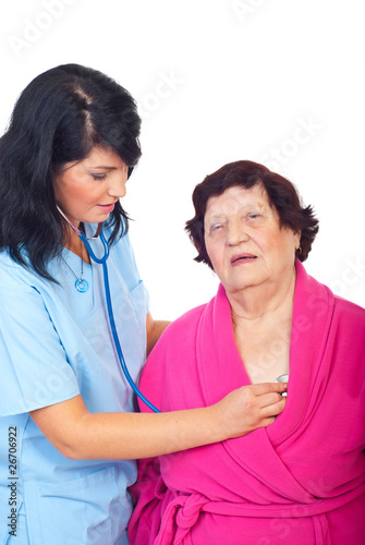 Doctor woman assessing elderly patient