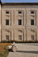 guazzatoio courtyard detail, pilotta palace, parma