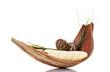 Holzschale mit Hantüchern und Pflanze