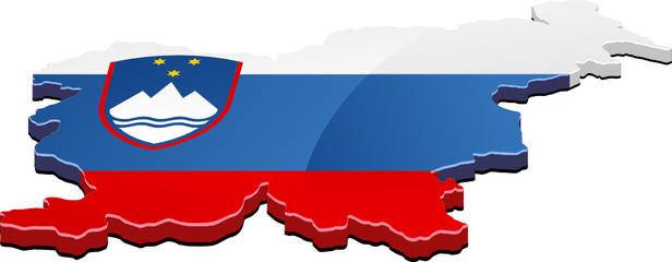 Carte de la Slovénie 3D drapeau (détouré)