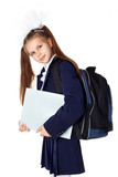 First day at school  - little girl with backpack and book - Fine Art prints