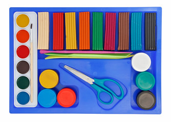 Creative set of aquarelle paint box, plasticine and scissors