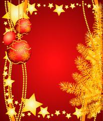 Sfondo natalizio con decorazioni ed abete
