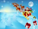 Fototapety santa in his sleigh