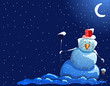 Christmas snowman night background
