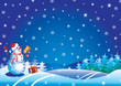 Xmas background with snowman .