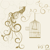 bird out of the golden cage floral background