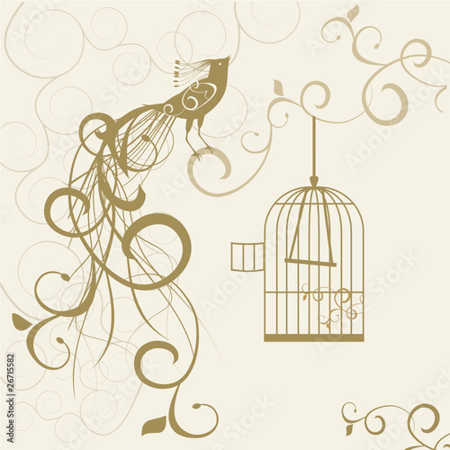 Foto op Aluminium Vogels in kooien bird out of the golden cage floral background