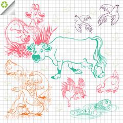 Farm animals vector background