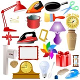 set of of home objects poster