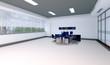 Interno vuoto ufficio con scrivania 3d