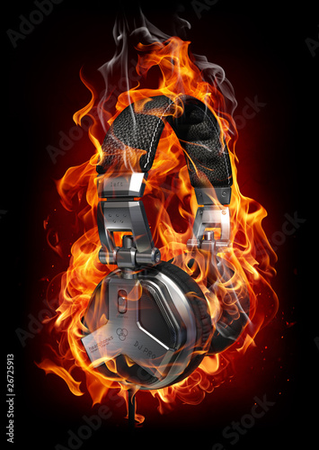 Fotobehang Vlam Burning headphones