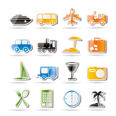 Travel, transportation, tourism and holiday icons