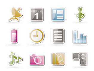 Mobile phone performance icons - vector icon set