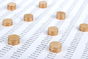 Coins on financial data