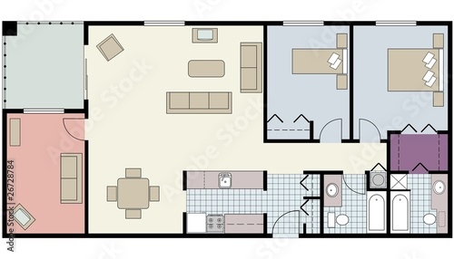 Furnished floor plan of two-bedroom condo with den