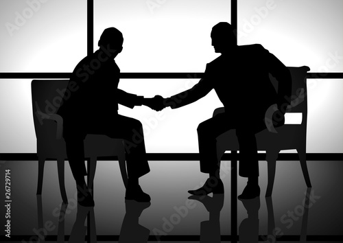 Stock illustration of two men shaking hand
