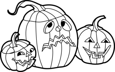 Back and White Hallowin Pumpkins Illustration