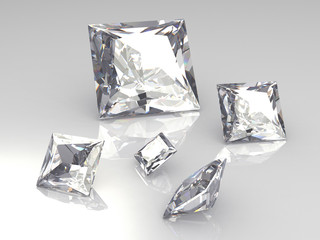 Square white diamond stones on glossy surface