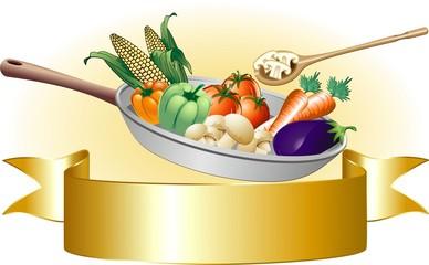 Padella con Verdure Miste-Mixed Vegetables Banner-Vector