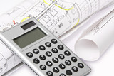 Fototapety Calculator with architect`s plans