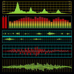 Music waves and audio equalizer background