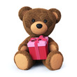 Teddy bear with present box