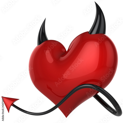 Devil heart. Fateful love. Lover concept. 3D rendering (Hi-Res)