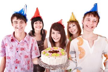 Group of teenagers celebrate happy  birthday.