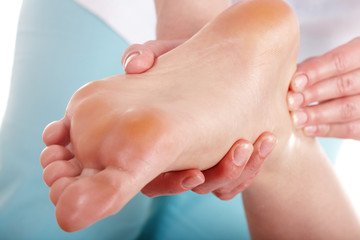 Woman having foot massage