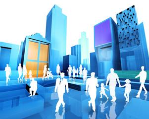 plano 3d  de ciudad y gente