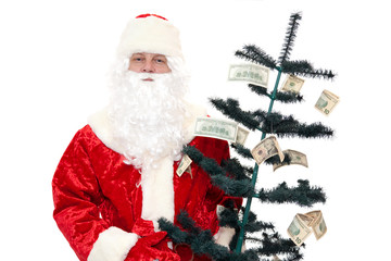 Close-up of Santa Claus and the Money Tree