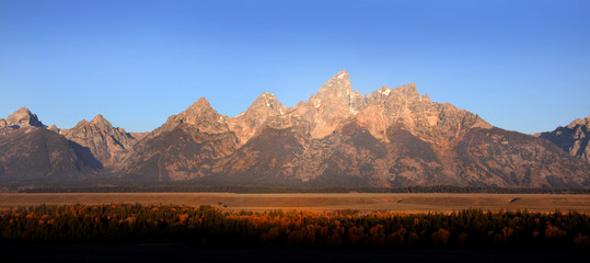 Panoramic view of Grand Tetons national mountain range