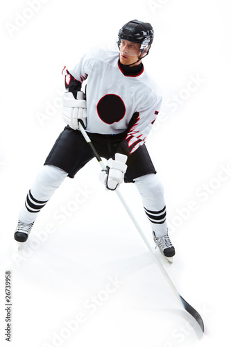 Concentrated hockey player