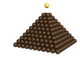 pyramid of brown metallic spheres and gold sphere on the top