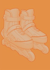 High quality illustration of a pair of roller blades.