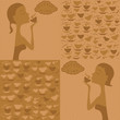 set of backgrounds with illustration of girl and coffee cups