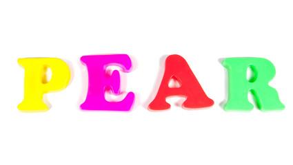 pear written in fridge magnets