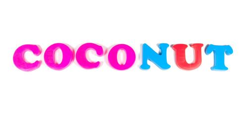 coconut written in fridge magnets