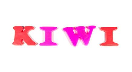 kiwi written in fridge magnets