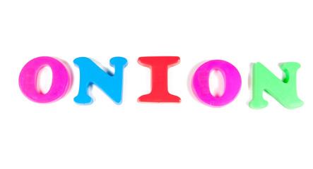 onion written in fridge magnets