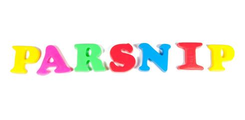 parsnip written in fridge magnets